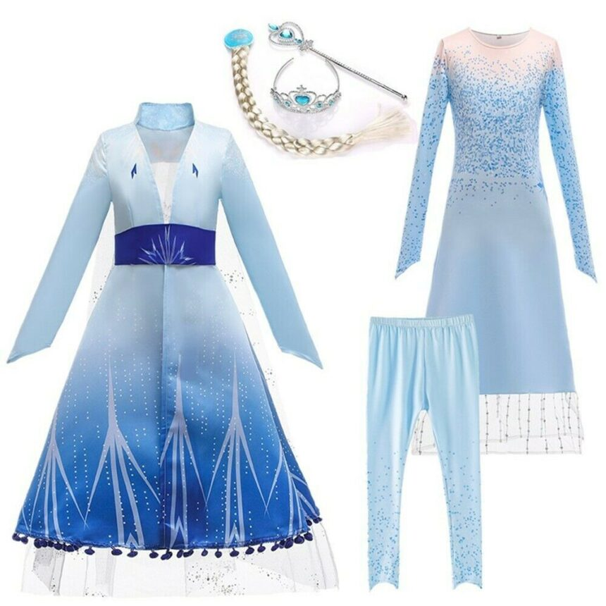 2020 Snow Queen Costume Dress Party Fancy Dresses Coat with Cosplay Accessories